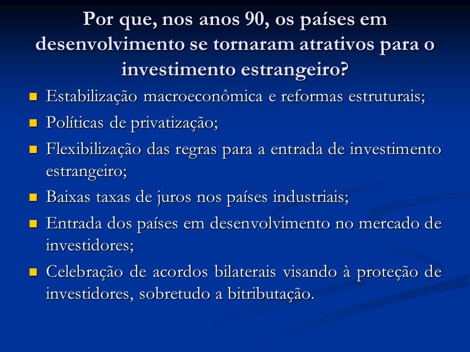 Por que, nos anos 90, os países em desenvolvimento se tornaram atrativos para o investimento estrangeiro.