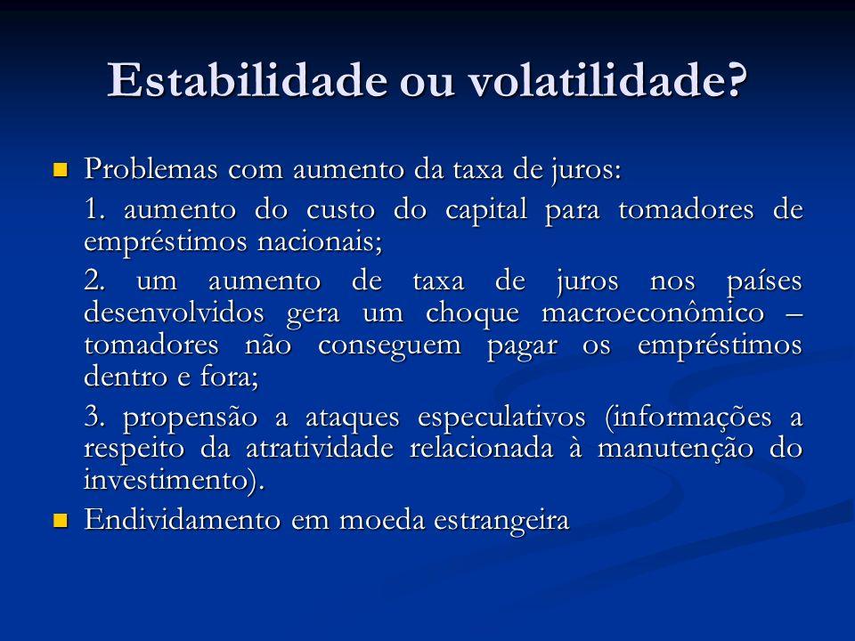 Estabilidade ou volatilidade.
