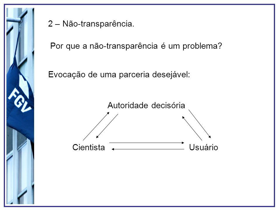 2 – Não-transparência. Por que a não-transparência é um problema? Evocação de uma parceria desejável: Autoridade decisória CientistaUsuário