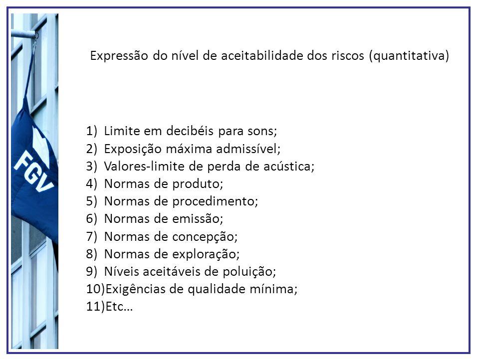 Expressão do nível de aceitabilidade dos riscos (quantitativa) 1)Limite em decibéis para sons; 2)Exposição máxima admissível; 3)Valores-limite de perd