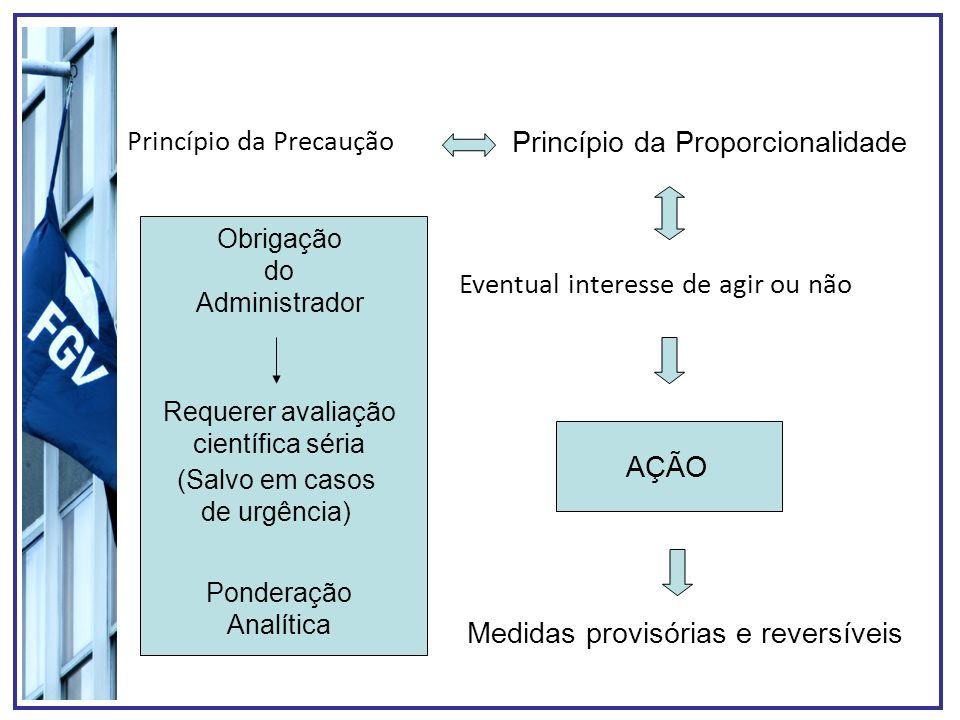 Princípio da Precaução Eventual interesse de agir ou não Medidas provisórias e reversíveis Princípio da Proporcionalidade AÇÃO Obrigação do Administra
