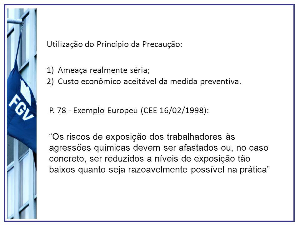 Utilização do Princípio da Precaução: P. 78 - Exemplo Europeu (CEE 16/02/1998): 1)Ameaça realmente séria; 2)Custo econômico aceitável da medida preven
