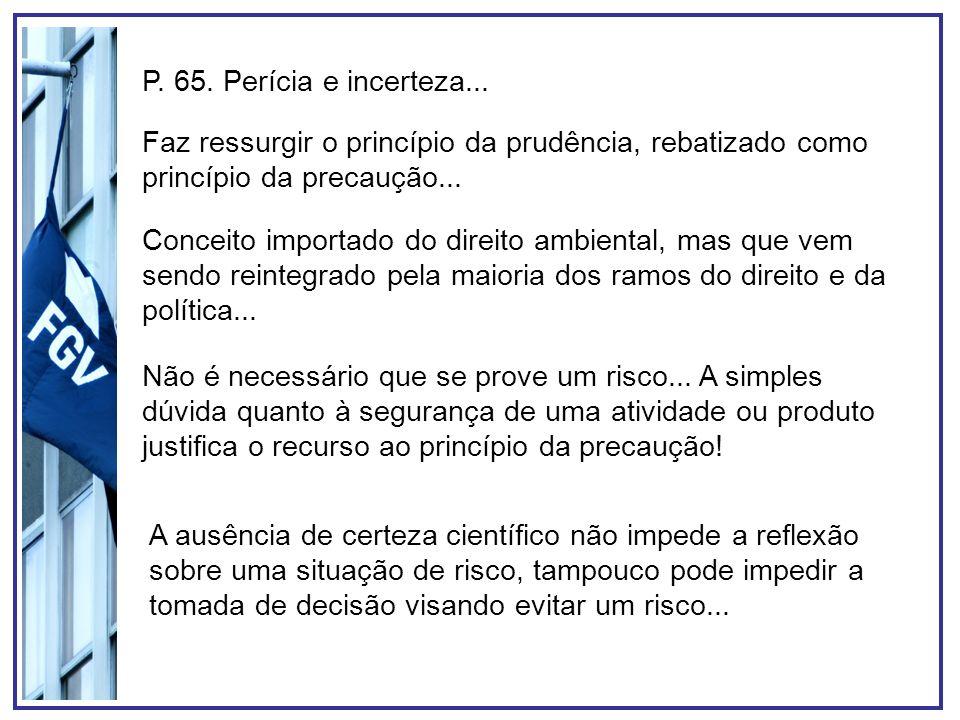 P. 65. Perícia e incerteza... Faz ressurgir o princípio da prudência, rebatizado como princípio da precaução... Conceito importado do direito ambienta