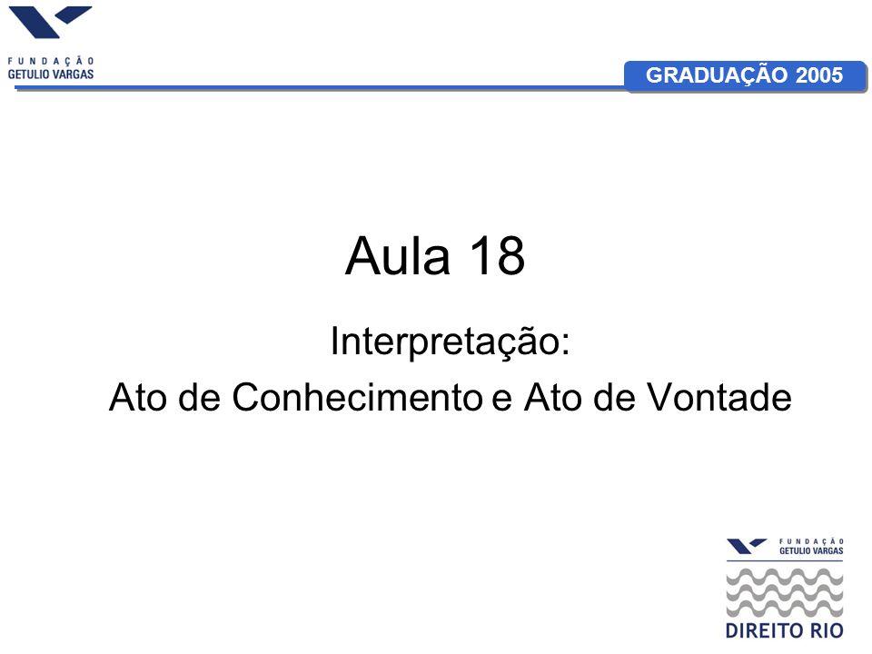 GRADUAÇÃO 2005 Aula 18 Interpretação: Ato de Conhecimento e Ato de Vontade