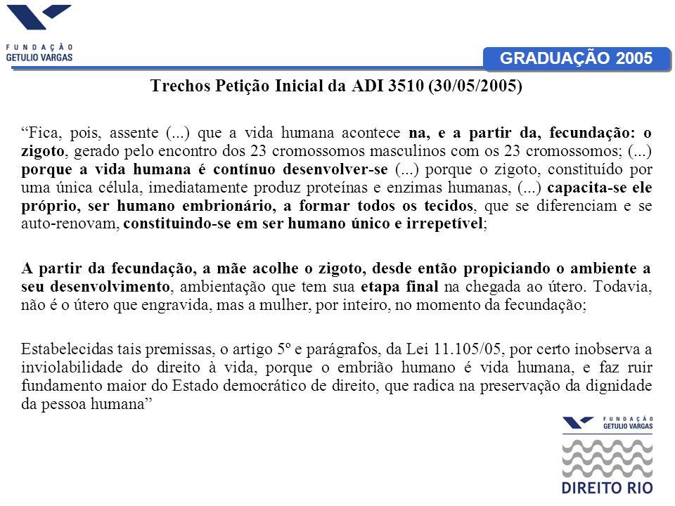 GRADUAÇÃO 2005 Trechos Petição Inicial da ADI 3510 (30/05/2005) Fica, pois, assente (...) que a vida humana acontece na, e a partir da, fecundação: o