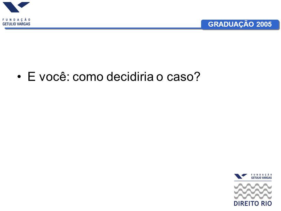 GRADUAÇÃO 2005 E você: como decidiria o caso?