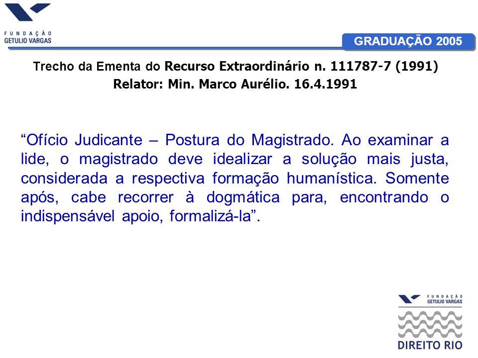GRADUAÇÃO 2005 Trecho da Ementa do Recurso Extraordinário n. 111787-7 (1991) Relator: Min. Marco Aurélio. 16.4.1991 Ofício Judicante – Postura do Magi