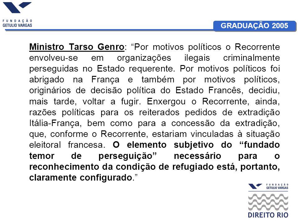 GRADUAÇÃO 2005 Ministro Tarso Genro: Por motivos políticos o Recorrente envolveu-se em organizações ilegais criminalmente perseguidas no Estado requer
