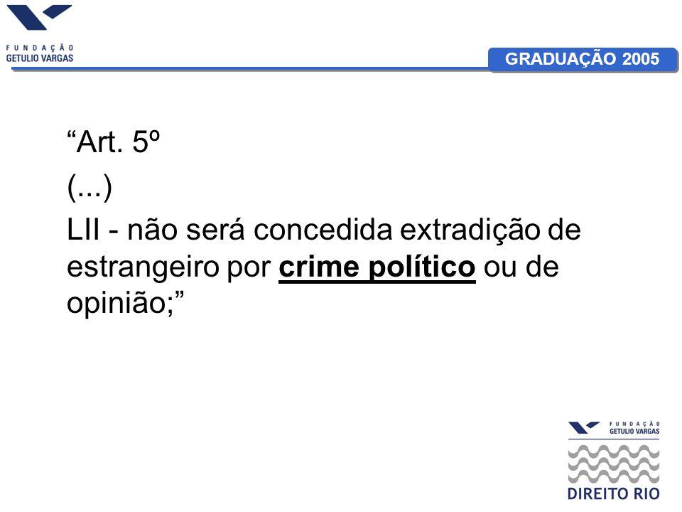 GRADUAÇÃO 2005 Art. 5º (...) LII - não será concedida extradição de estrangeiro por crime político ou de opinião;
