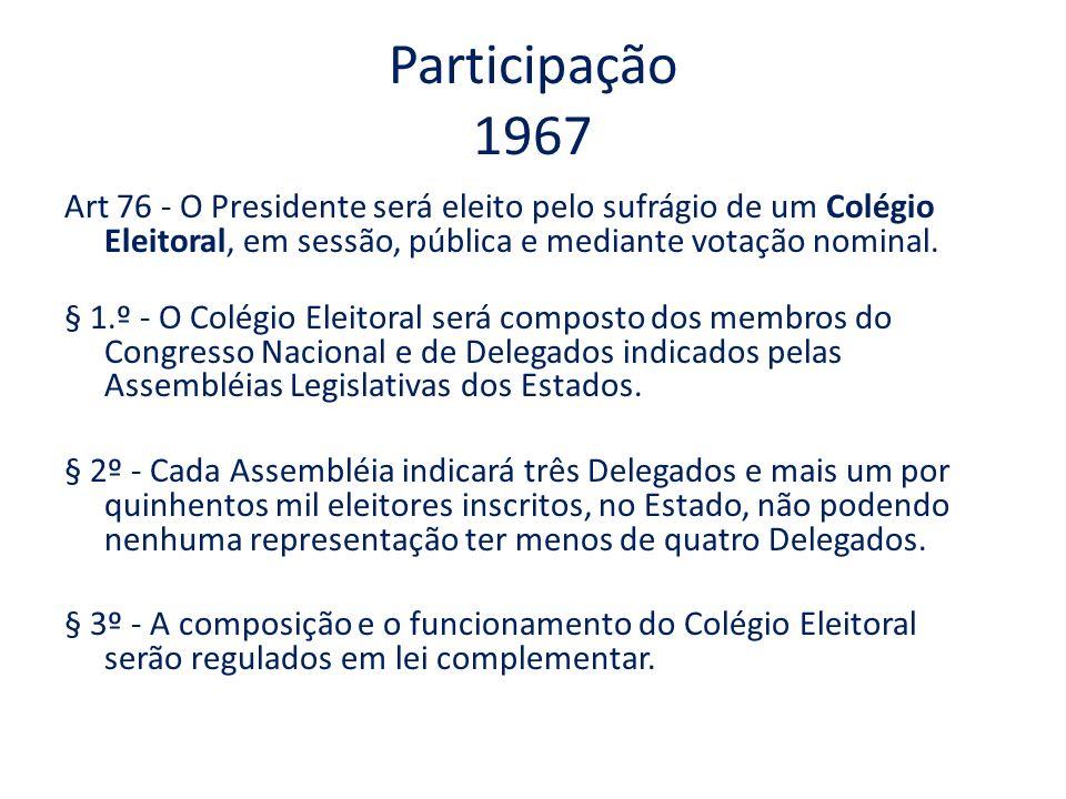 Participação 1967 Art 76 - O Presidente será eleito pelo sufrágio de um Colégio Eleitoral, em sessão, pública e mediante votação nominal. § 1.º - O Co