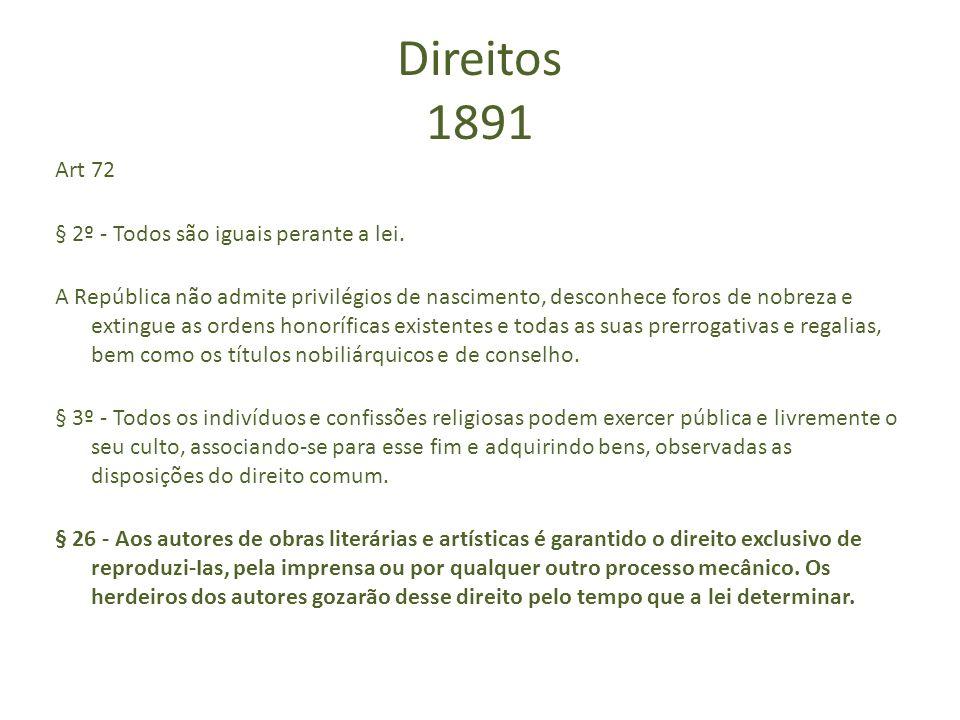 Direitos 1891 Art 72 § 2º - Todos são iguais perante a lei. A República não admite privilégios de nascimento, desconhece foros de nobreza e extingue a