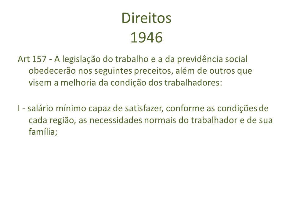 Direitos 1946 Art 157 - A legislação do trabalho e a da previdência social obedecerão nos seguintes preceitos, além de outros que visem a melhoria da