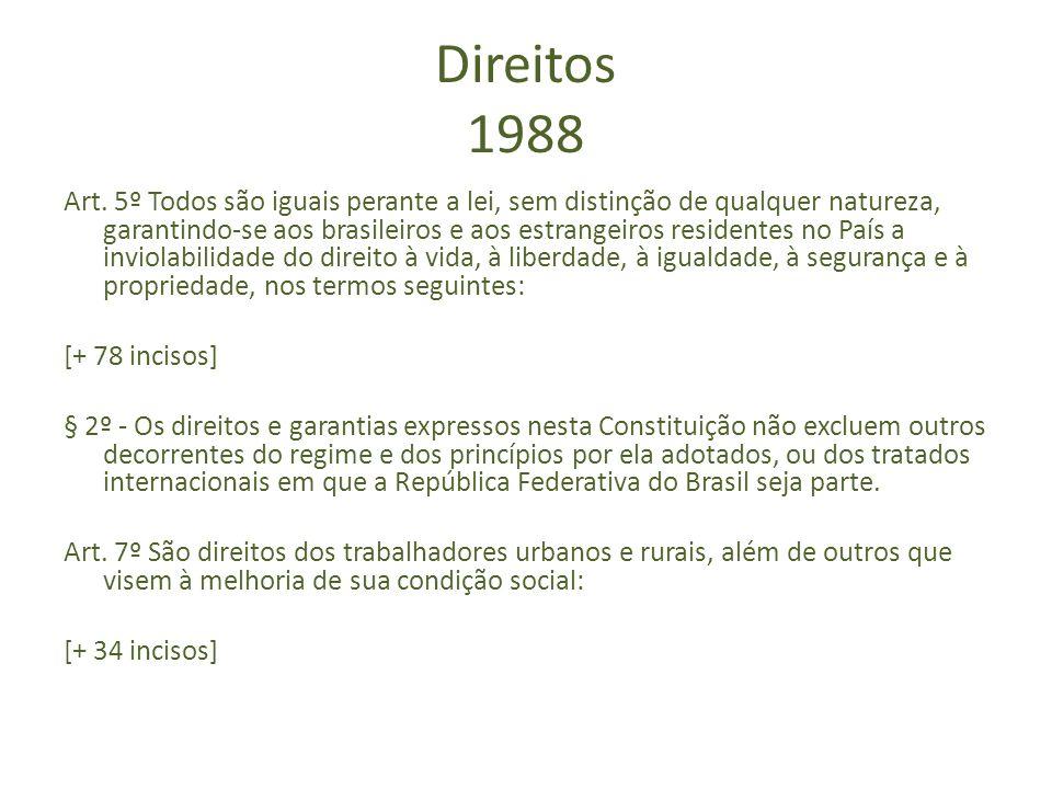 Direitos 1988 Art. 5º Todos são iguais perante a lei, sem distinção de qualquer natureza, garantindo-se aos brasileiros e aos estrangeiros residentes