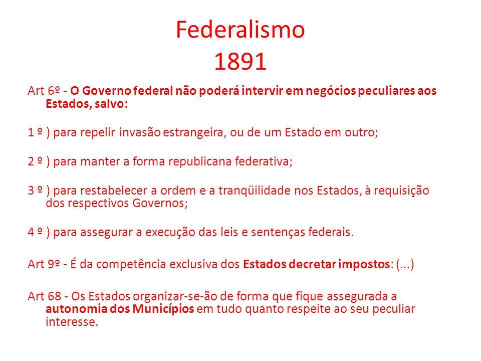 Federalismo 1891 Art 6º - O Governo federal não poderá intervir em negócios peculiares aos Estados, salvo: 1 º ) para repelir invasão estrangeira, ou