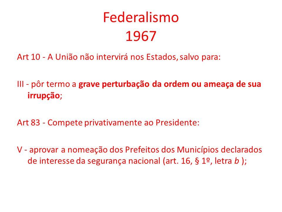 Federalismo 1967 Art 10 - A União não intervirá nos Estados, salvo para: III - pôr termo a grave perturbação da ordem ou ameaça de sua irrupção; Art 8