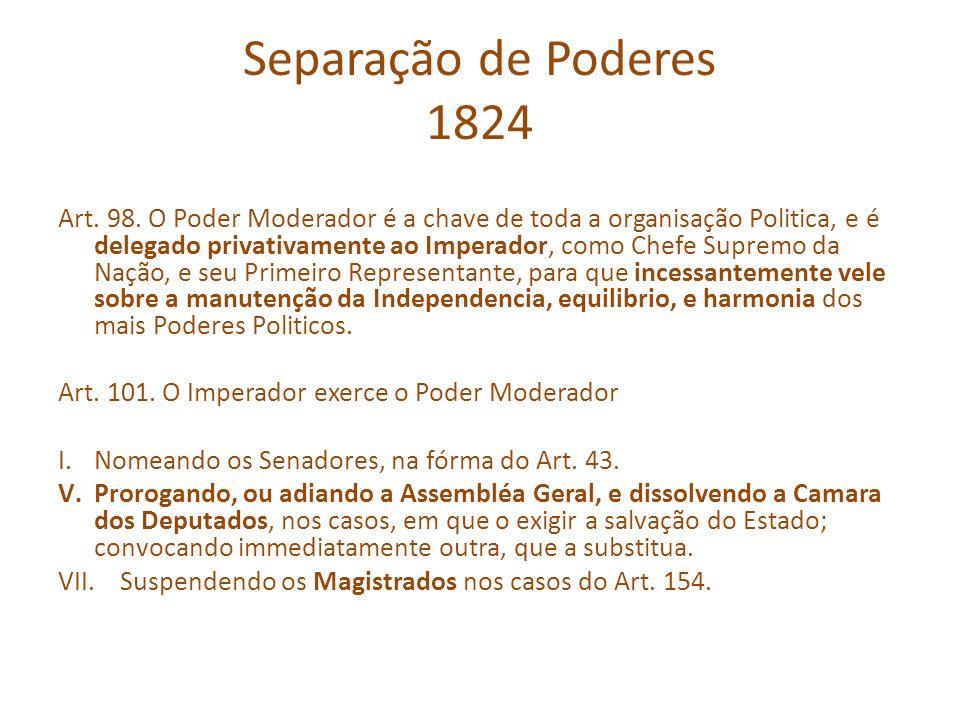 Separação de Poderes 1824 Art. 98. O Poder Moderador é a chave de toda a organisação Politica, e é delegado privativamente ao Imperador, como Chefe Su