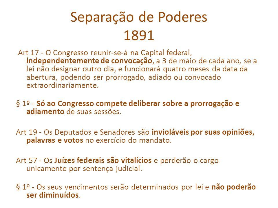 Separação de Poderes 1891 Art 17 - O Congresso reunir-se-á na Capital federal, independentemente de convocação, a 3 de maio de cada ano, se a lei não