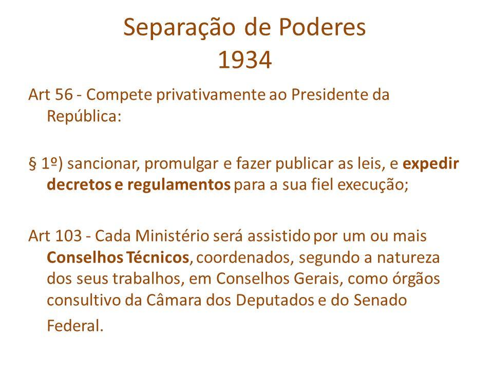 Separação de Poderes 1934 Art 56 - Compete privativamente ao Presidente da República: § 1º) sancionar, promulgar e fazer publicar as leis, e expedir d