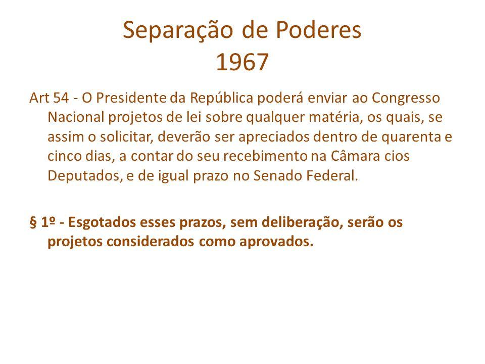 Separação de Poderes 1967 Art 54 - O Presidente da República poderá enviar ao Congresso Nacional projetos de lei sobre qualquer matéria, os quais, se