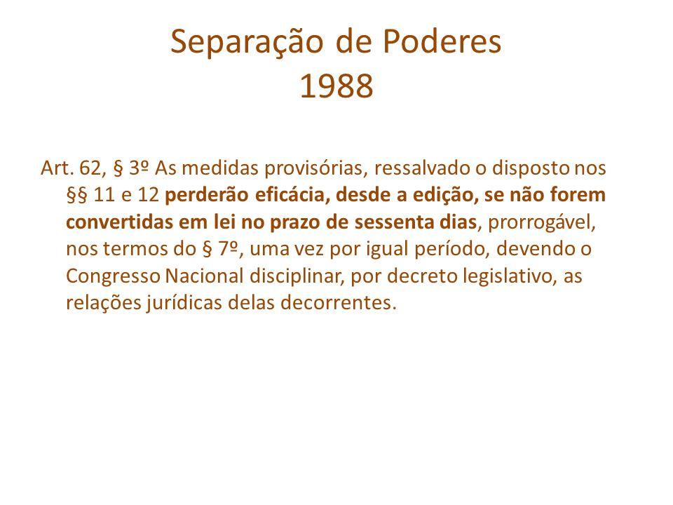 Separação de Poderes 1988 Art. 62, § 3º As medidas provisórias, ressalvado o disposto nos §§ 11 e 12 perderão eficácia, desde a edição, se não forem c