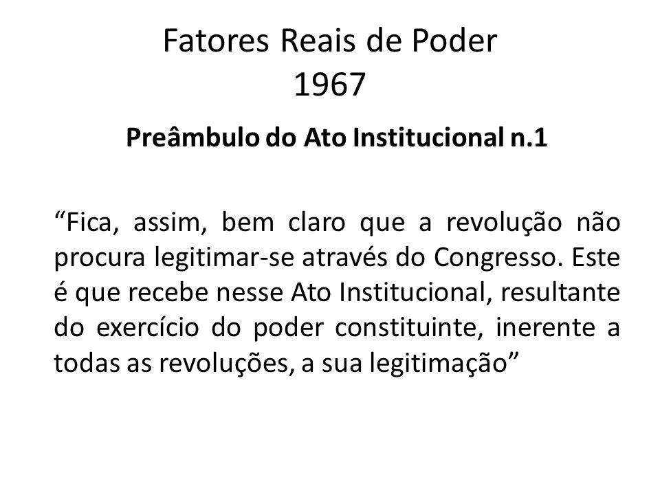 Fatores Reais de Poder 1967 Preâmbulo do Ato Institucional n.1 Fica, assim, bem claro que a revolução não procura legitimar-se através do Congresso. E
