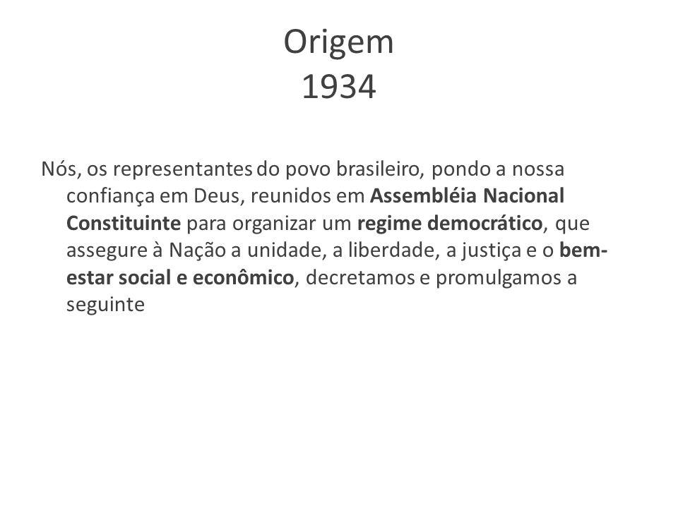 Origem 1934 Nós, os representantes do povo brasileiro, pondo a nossa confiança em Deus, reunidos em Assembléia Nacional Constituinte para organizar um