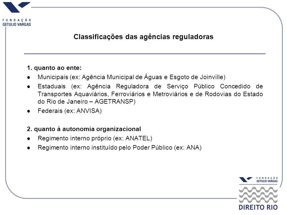Classificações das agências reguladoras 1. quanto ao ente: Municipais (ex: Agência Municipal de Águas e Esgoto de Joinville) Estaduais (ex: Agência Re