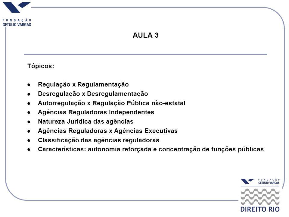 AULA 3 Tópicos: Regulação x Regulamentação Desregulação x Desregulamentação Autorregulação x Regulação Pública não-estatal Agências Reguladoras Indepe
