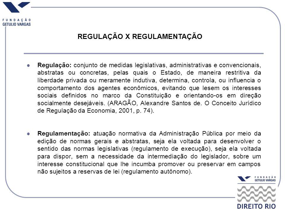 Regulação: conjunto de medidas legislativas, administrativas e convencionais, abstratas ou concretas, pelas quais o Estado, de maneira restritiva da l