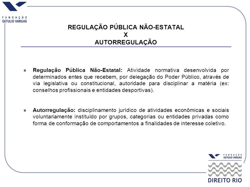 REGULAÇÃO PÚBLICA NÃO-ESTATAL X AUTORREGULAÇÃO Regulação Pública Não-Estatal: Atividade normativa desenvolvida por determinados entes que recebem, por