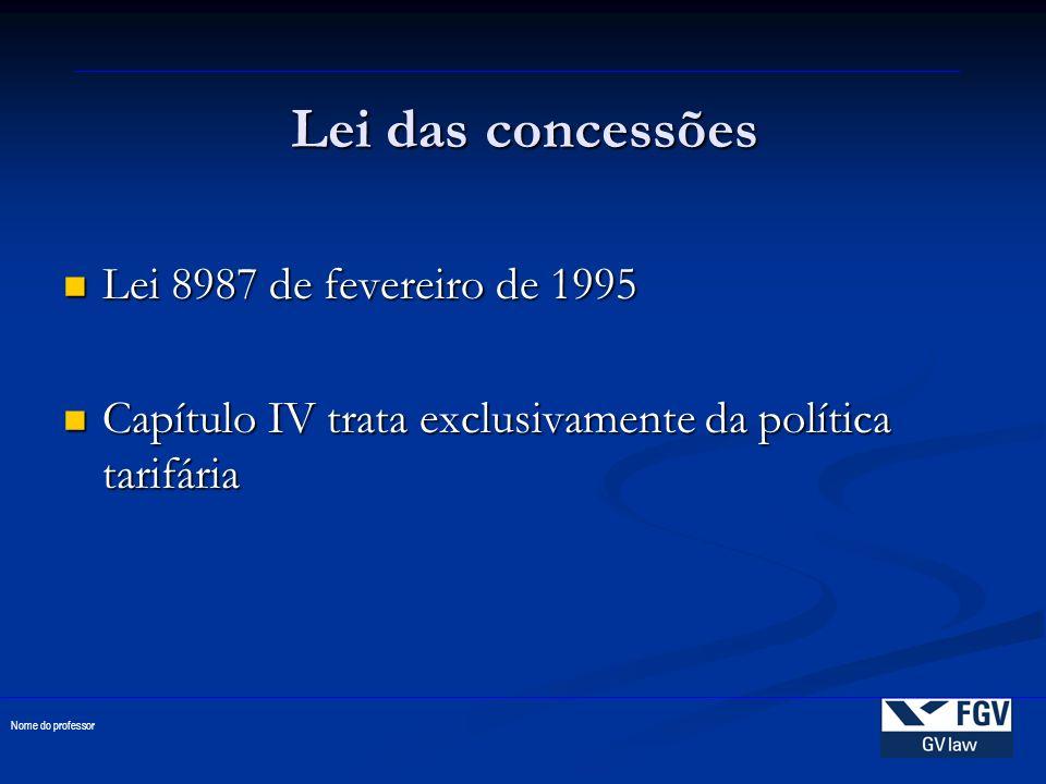 Lei das concessões Lei 8987 de fevereiro de 1995 Lei 8987 de fevereiro de 1995 Capítulo IV trata exclusivamente da política tarifária Capítulo IV trat