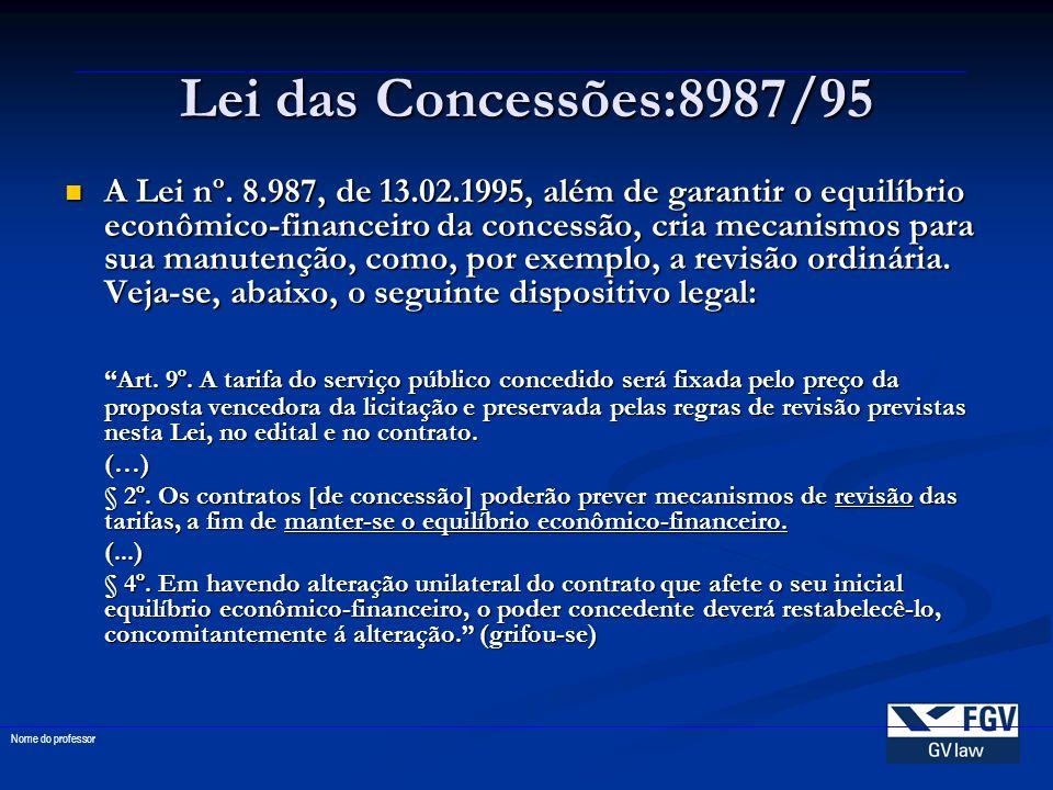 Lei das Concessões:8987/95 A Lei nº. 8.987, de 13.02.1995, além de garantir o equilíbrio econômico-financeiro da concessão, cria mecanismos para sua m