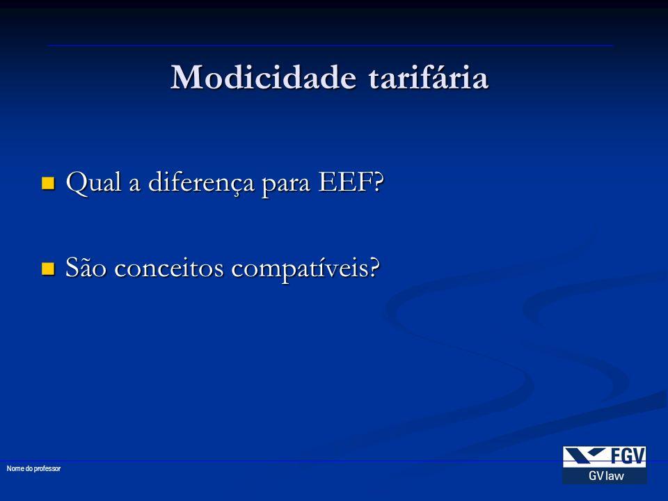 Modicidade tarifária Qual a diferença para EEF? Qual a diferença para EEF? São conceitos compatíveis? São conceitos compatíveis? Nome do professor