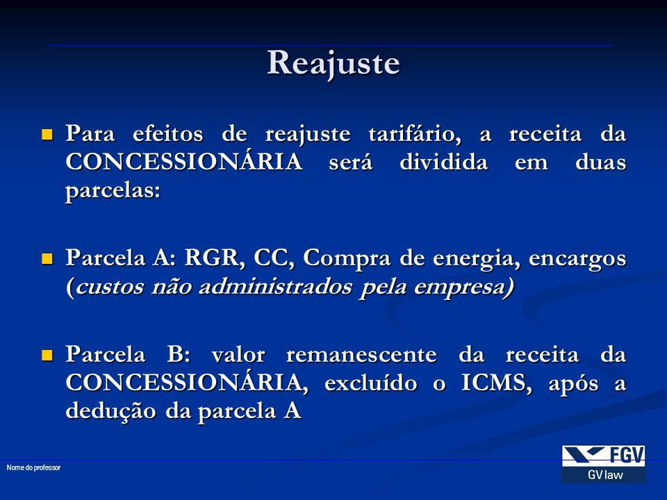 Reajuste Para efeitos de reajuste tarifário, a receita da CONCESSIONÁRIA será dividida em duas parcelas: Para efeitos de reajuste tarifário, a receita