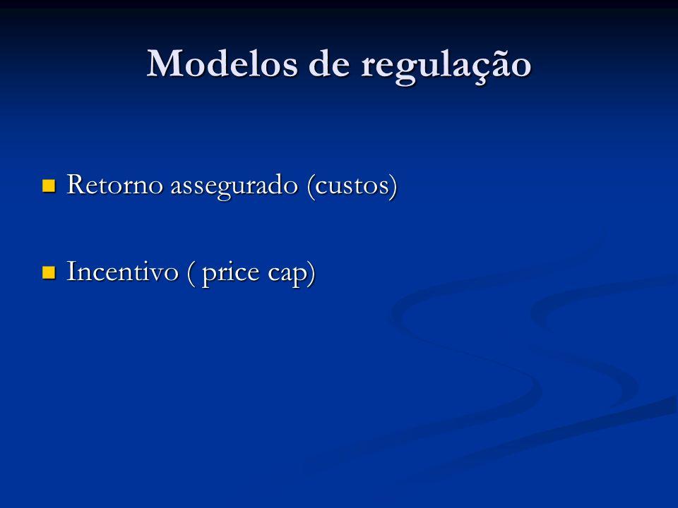 Modelos de regulação Retorno assegurado (custos) Retorno assegurado (custos) Incentivo ( price cap) Incentivo ( price cap)