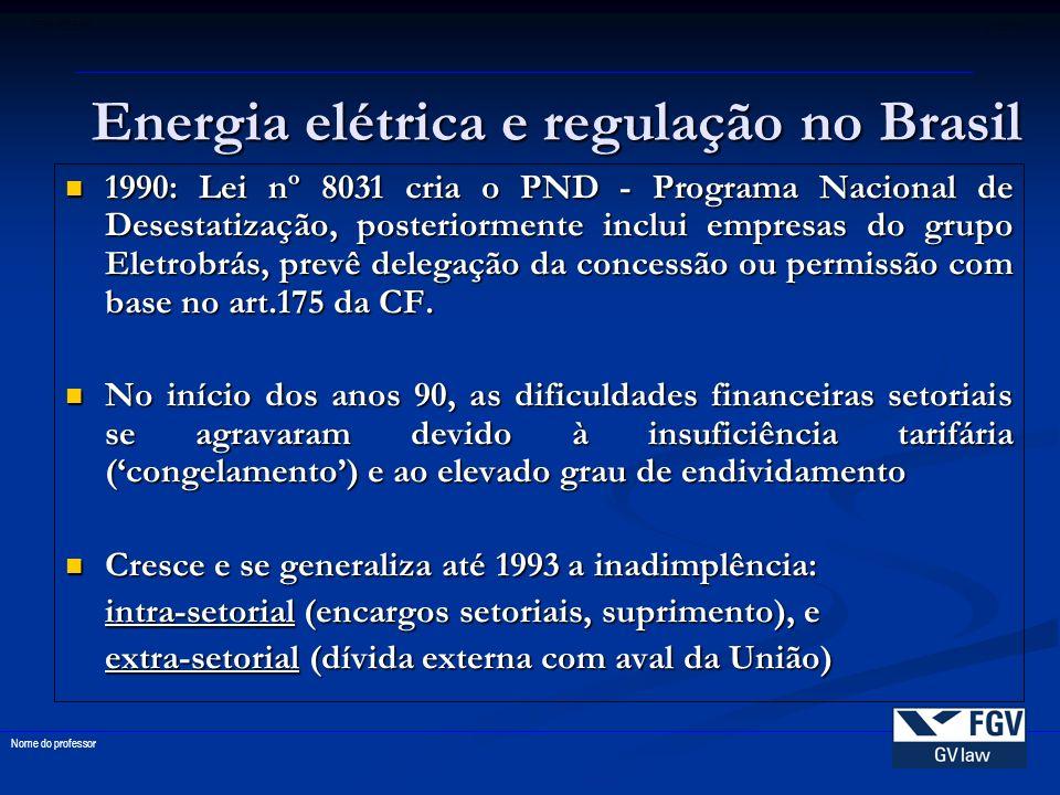 55 FGV-EDESP disciplina Nome do professor 1990: Lei nº 8031 cria o PND - Programa Nacional de Desestatização, posteriormente inclui empresas do grupo