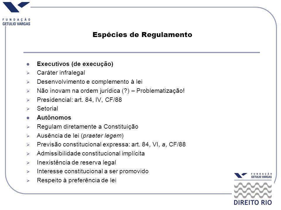 Espécies de Regulamento Executivos (de execução) Caráter infralegal Desenvolvimento e complemento à lei Não inovam na ordem jurídica (?) – Problematiz