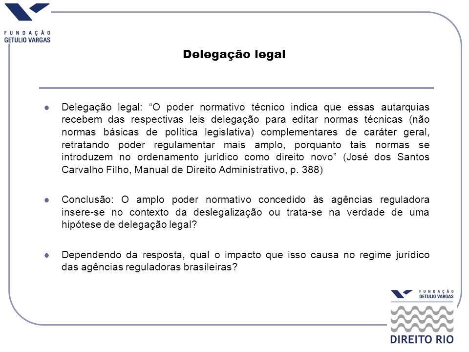 Delegação legal Delegação legal: O poder normativo técnico indica que essas autarquias recebem das respectivas leis delegação para editar normas técni