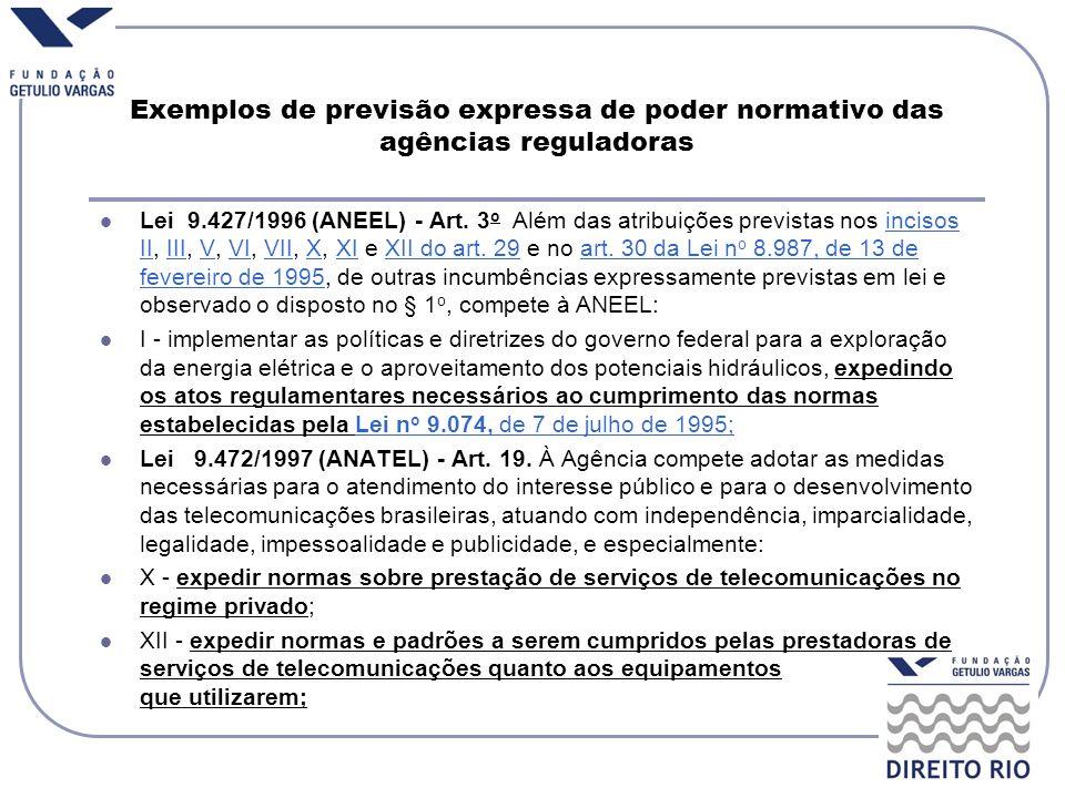 Exemplos de previsão expressa de poder normativo das agências reguladoras Lei 9.427/1996 (ANEEL) - Art. 3 o Além das atribuições previstas nos incisos