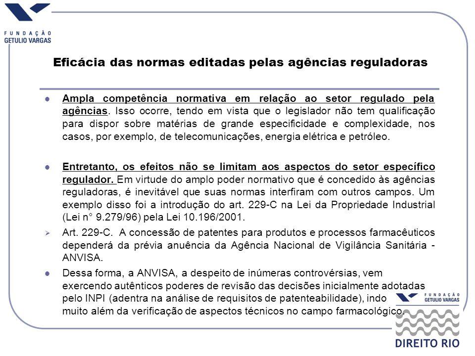 Eficácia das normas editadas pelas agências reguladoras Ampla competência normativa em relação ao setor regulado pela agências. Isso ocorre, tendo em