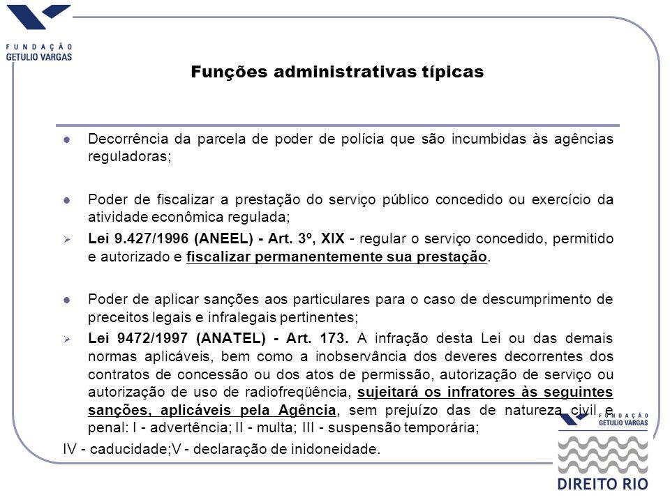 Funções administrativas típicas Decorrência da parcela de poder de polícia que são incumbidas às agências reguladoras; Poder de fiscalizar a prestação