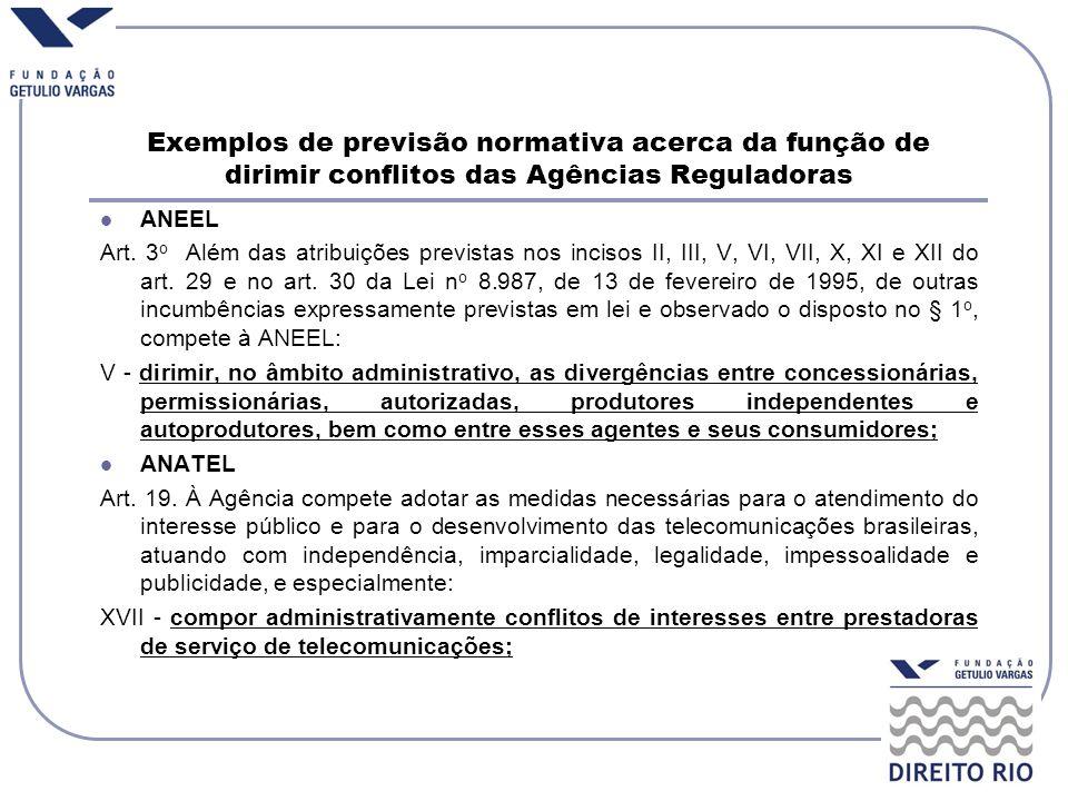 Exemplos de previsão normativa acerca da função de dirimir conflitos das Agências Reguladoras ANEEL Art. 3 o Além das atribuições previstas nos inciso