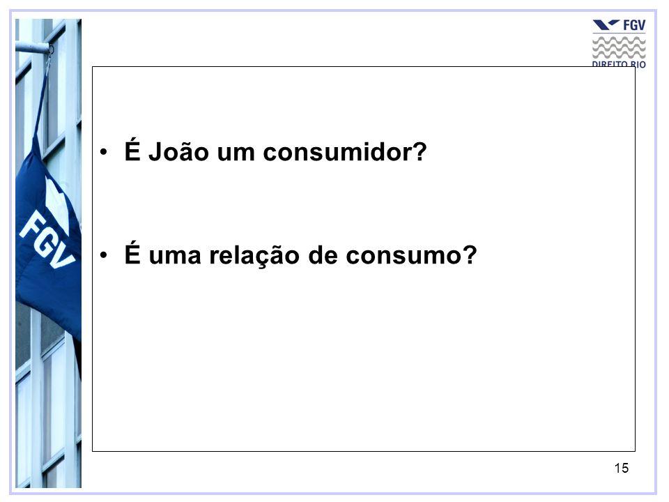 16 É João um consumidor.É uma relação de consumo.