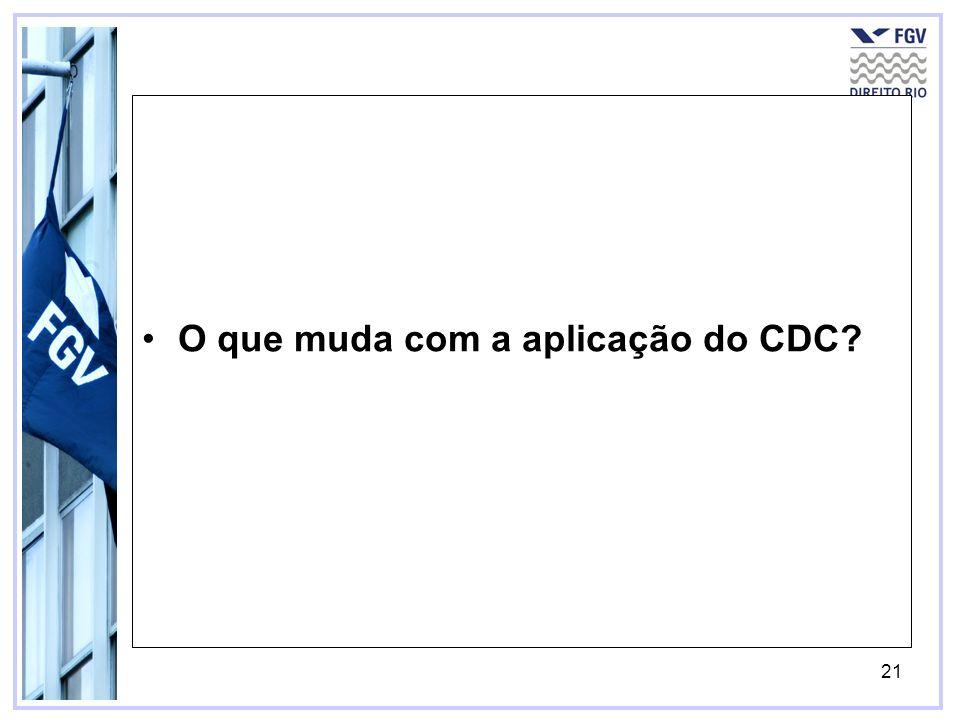 22 O que muda com a aplicação do CDC.–Art.
