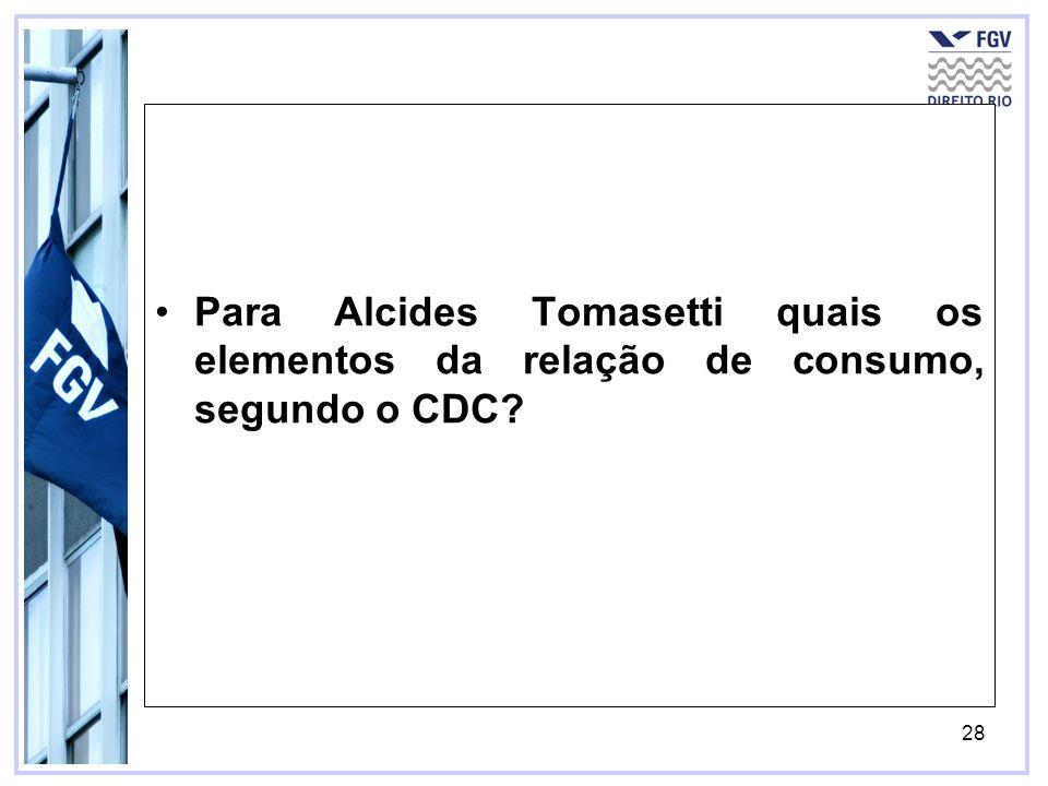 29 Para Alcides Tomasetti quais os elementos da relação de consumo, segundo o CDC.