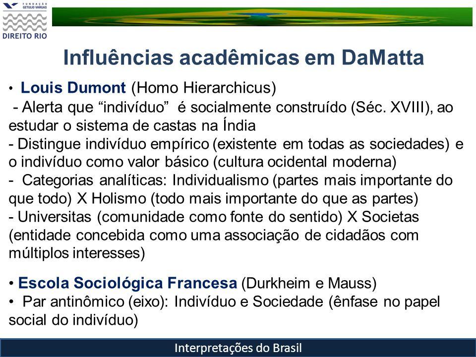 Cidadania – a questão da cidadania em um universo relacional Roberto DaMatta Interpretações do Brasil No Brasil, o individualismo é criado com esforço, como algo negativo e contra as leis que definem e emanam da totalidade.