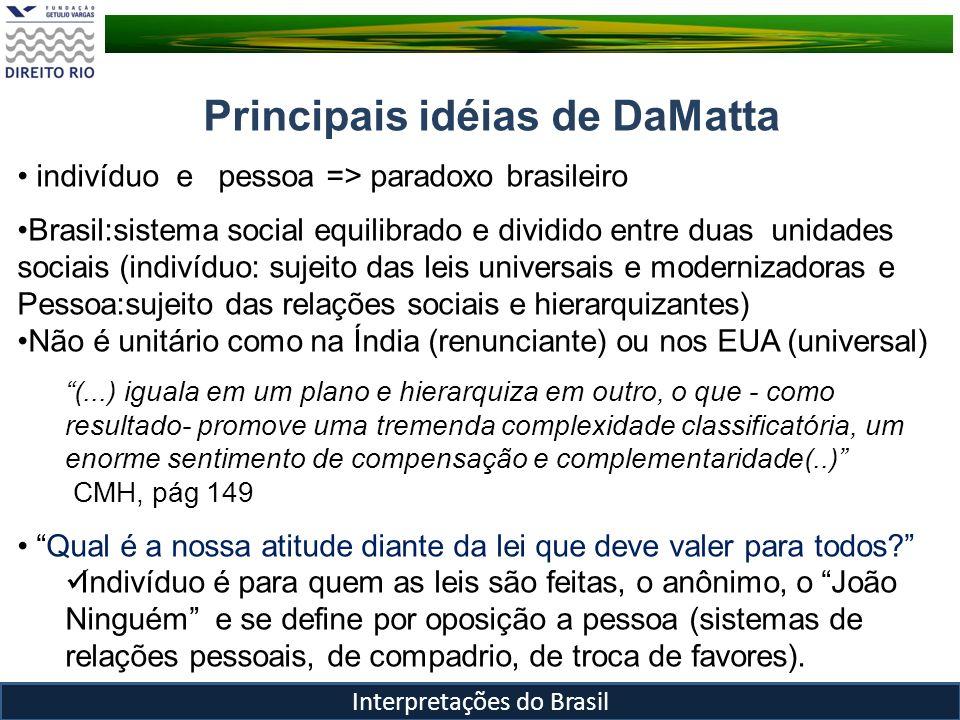 Principais idéias de DaMatta É como tivéssemos duas bases através das quais pensássemos o nosso sistema.