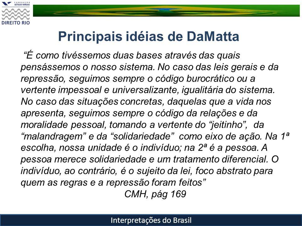 Principais idéias de DaMatta Malandragem, Jeitinho e você sabe com quem está falando.