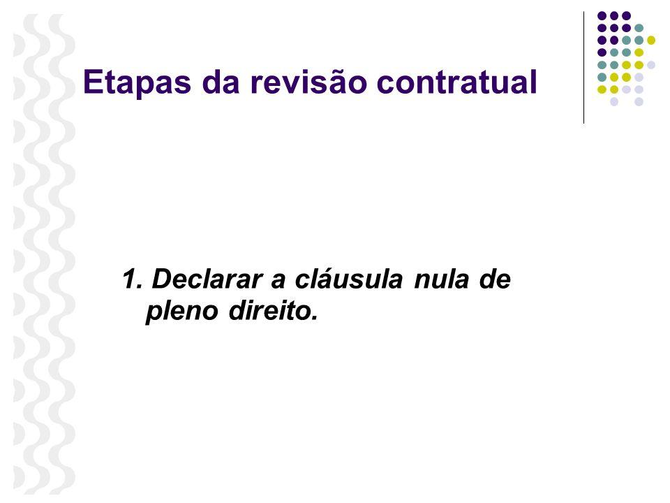 Etapas da revisão contratual 1. Declarar a cláusula nula de pleno direito.