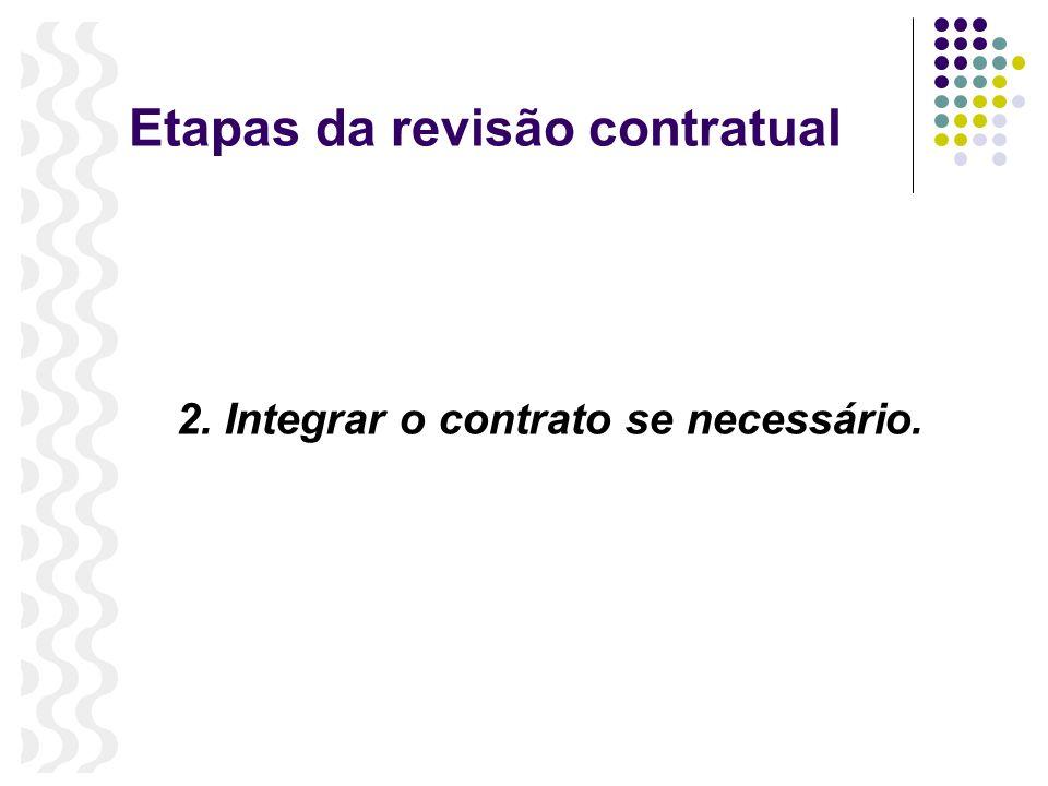 Etapas da revisão contratual 2. Integrar o contrato se necessário.
